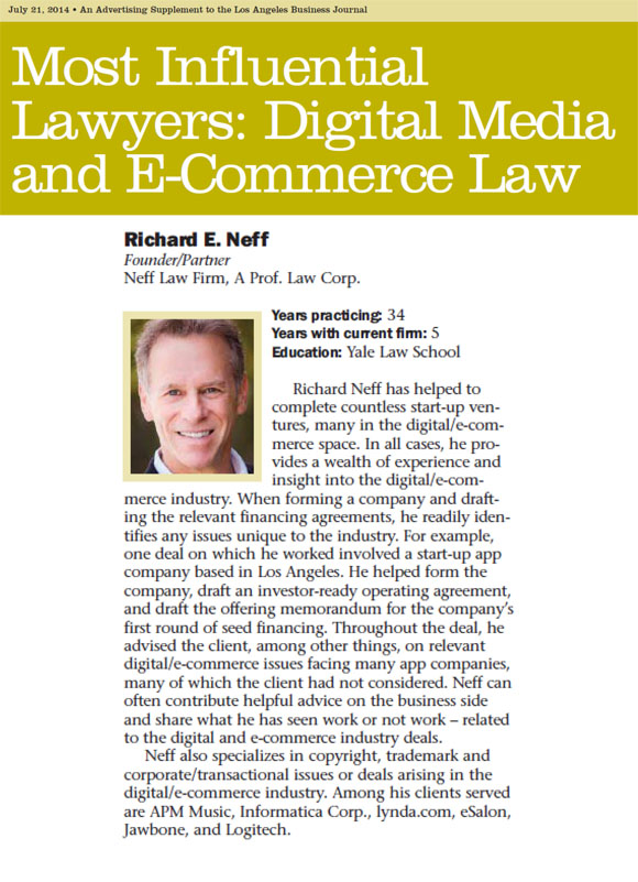 Richard Neff Most Influential Lawyers LABJ